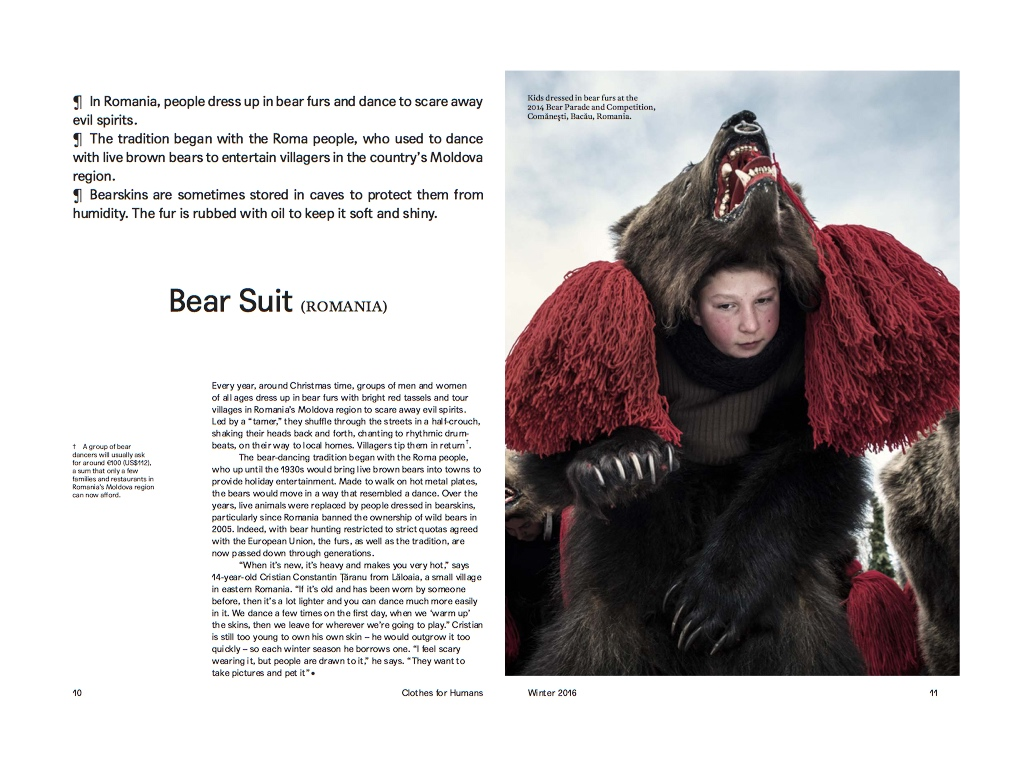 Bear Suit (Romania)  | Clothes for Humans, United Colors of Benetton, pages 10-15, Winter 2016