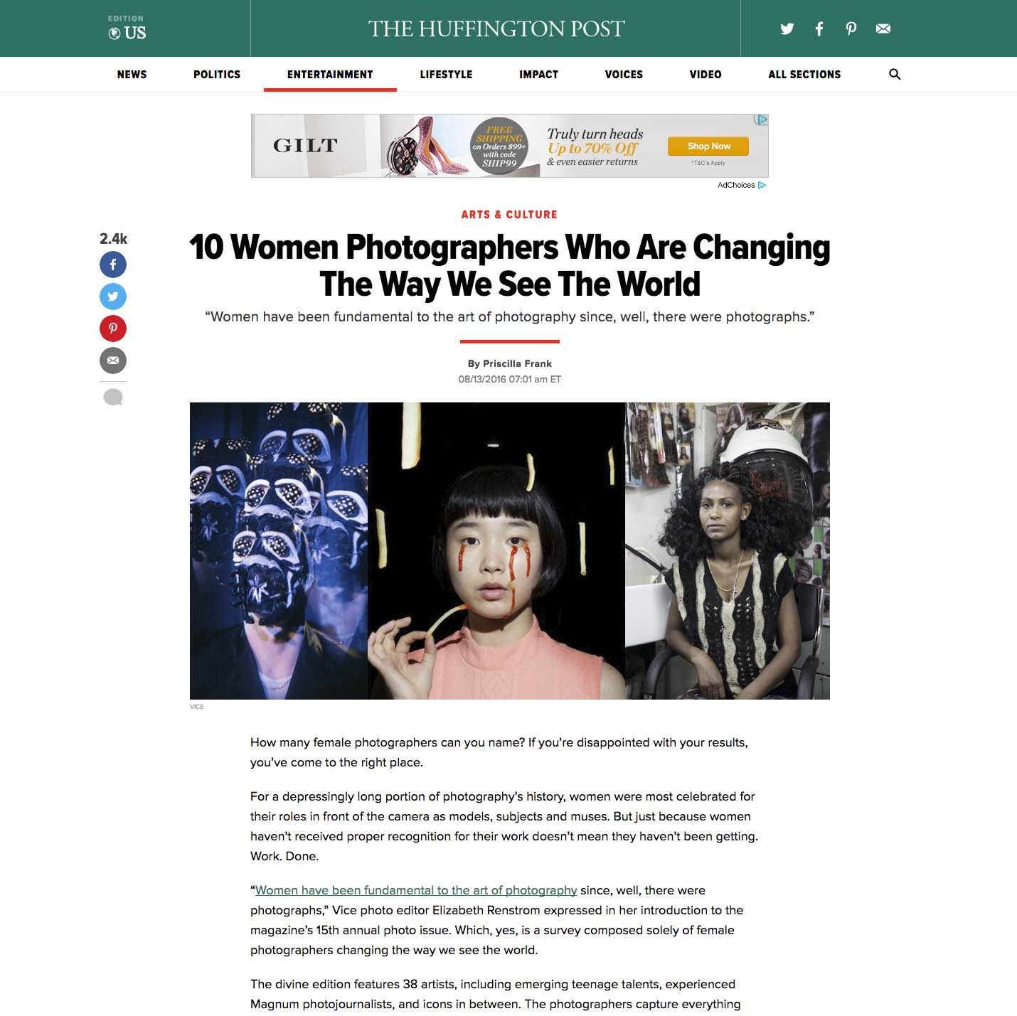 CLICK on title to link to full article     10 Women photographers who are changing the way we see the world  | Huffington Post, Aug 13, 2016