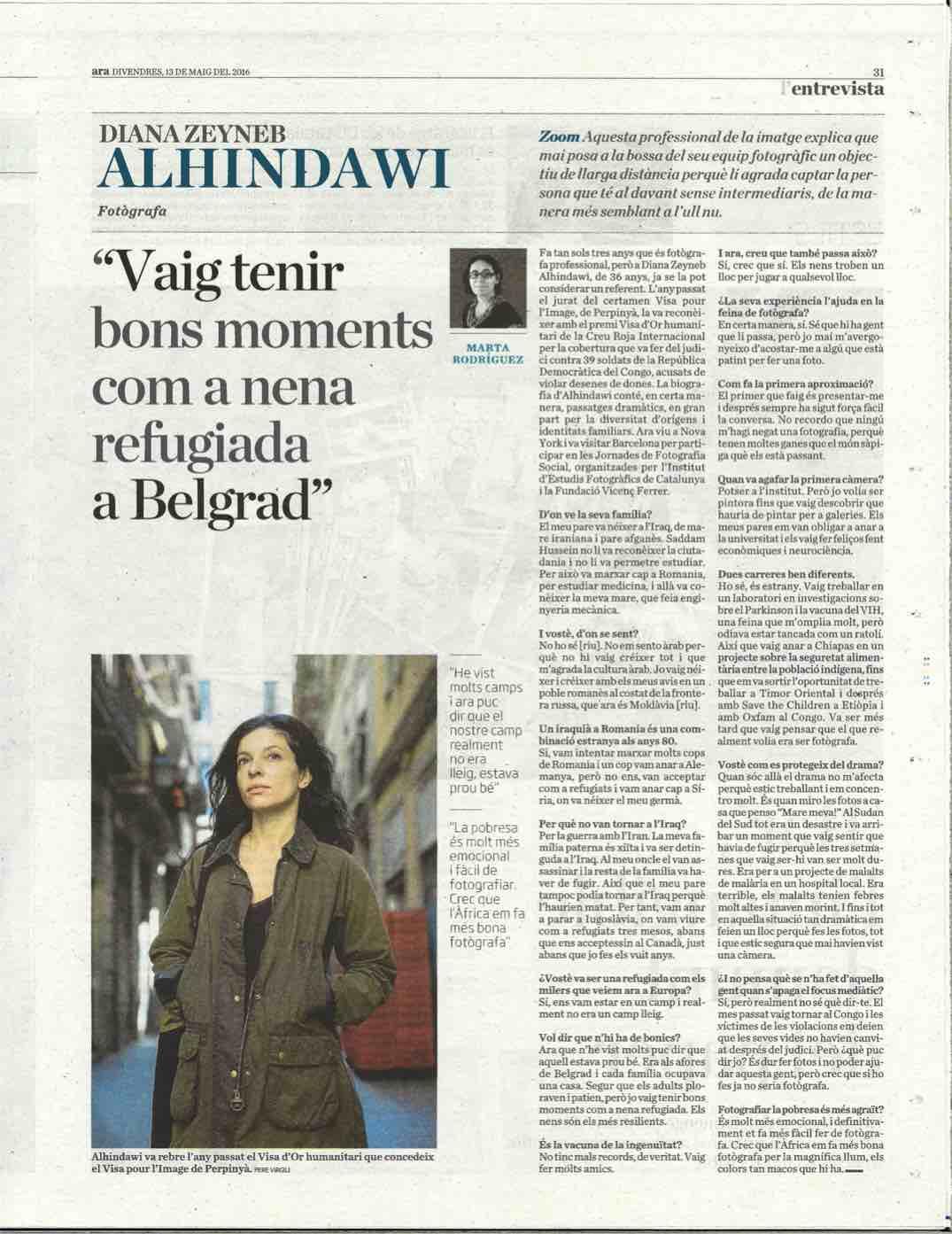 "Diana Zeyneb Alhindawi, Fotografa: ""Vaig tenir bons moments com a nena refugiada a Belgrad"" | Diari ARA (print), May 13, 2016"
