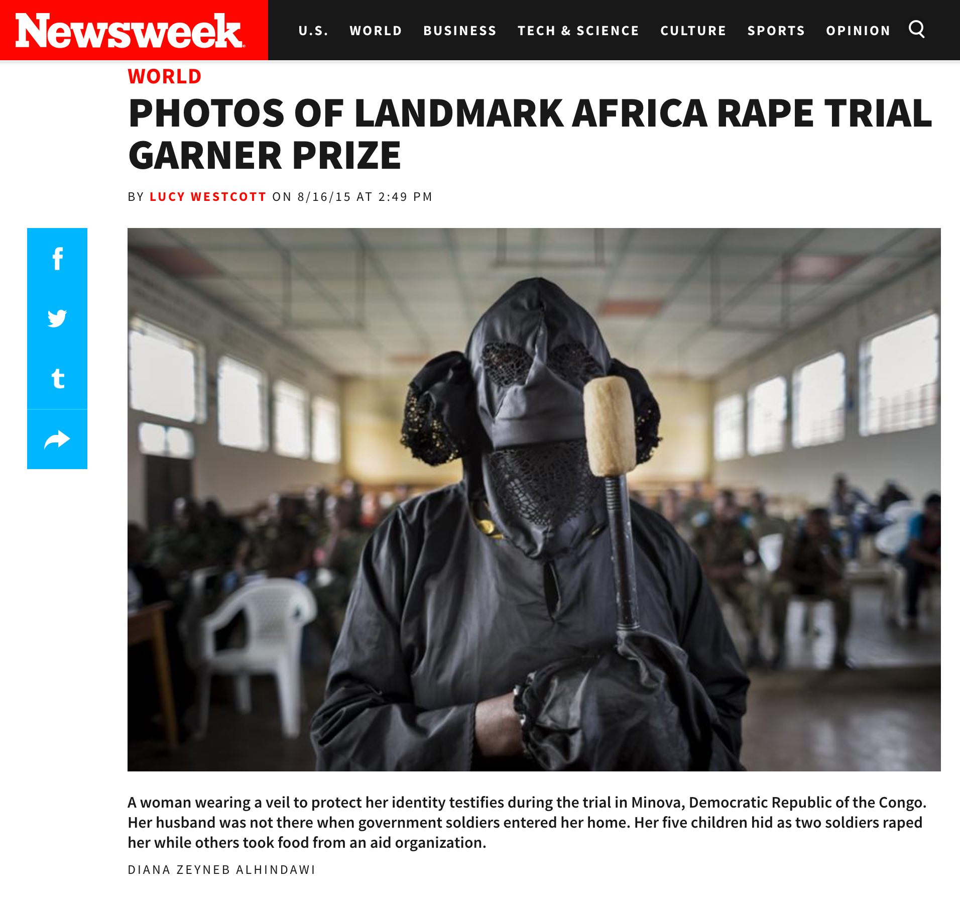 CLICK on title to link to full article     Photos of landmark Africa rape trial garner prize | Newsweek.com, Aug 16, 2015
