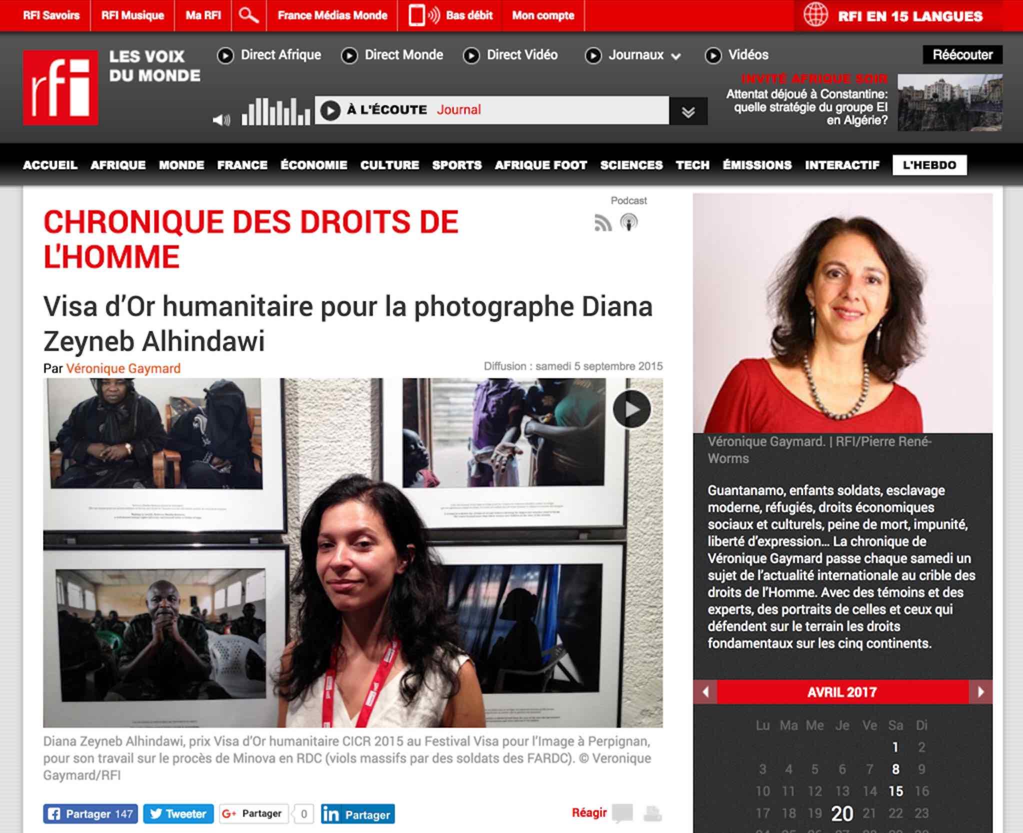 CLICK on title to link to full radio interview     Chronique de droits de l'homme: Visa d'or humanitaire pour la photographe Diana Zeyneb Alhindawi (radio) (Human rights chronicle: Humanitarian Visa d'Or for photographer Diana Zeyneb Alhindawi) | Radio France Internationale, Sept 5, 2015