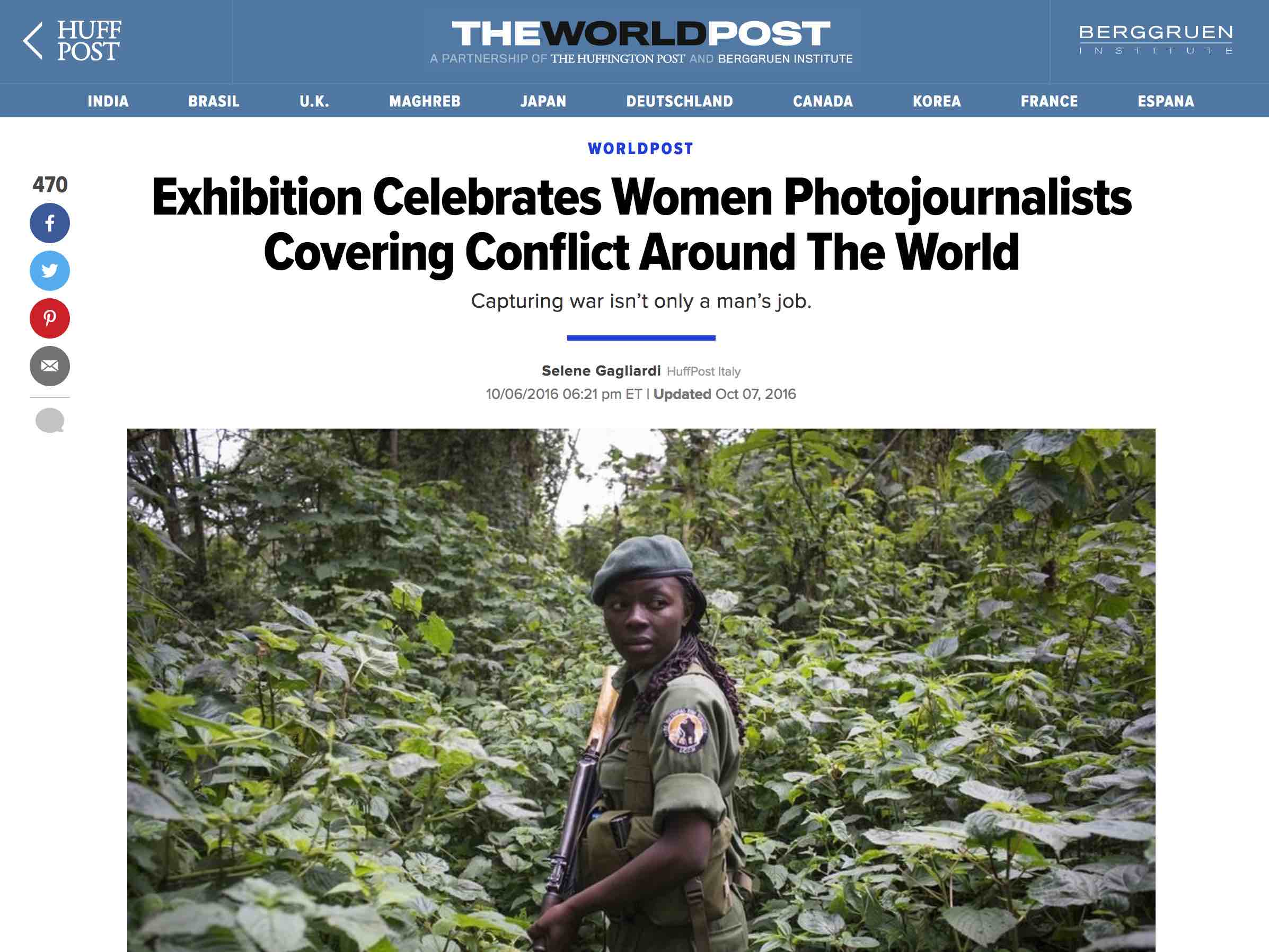 CLICK on title to link to full article     Exhibition celebrates women photojournalists covering conflict around the world  | Huffington Post, Oct 06, 2016
