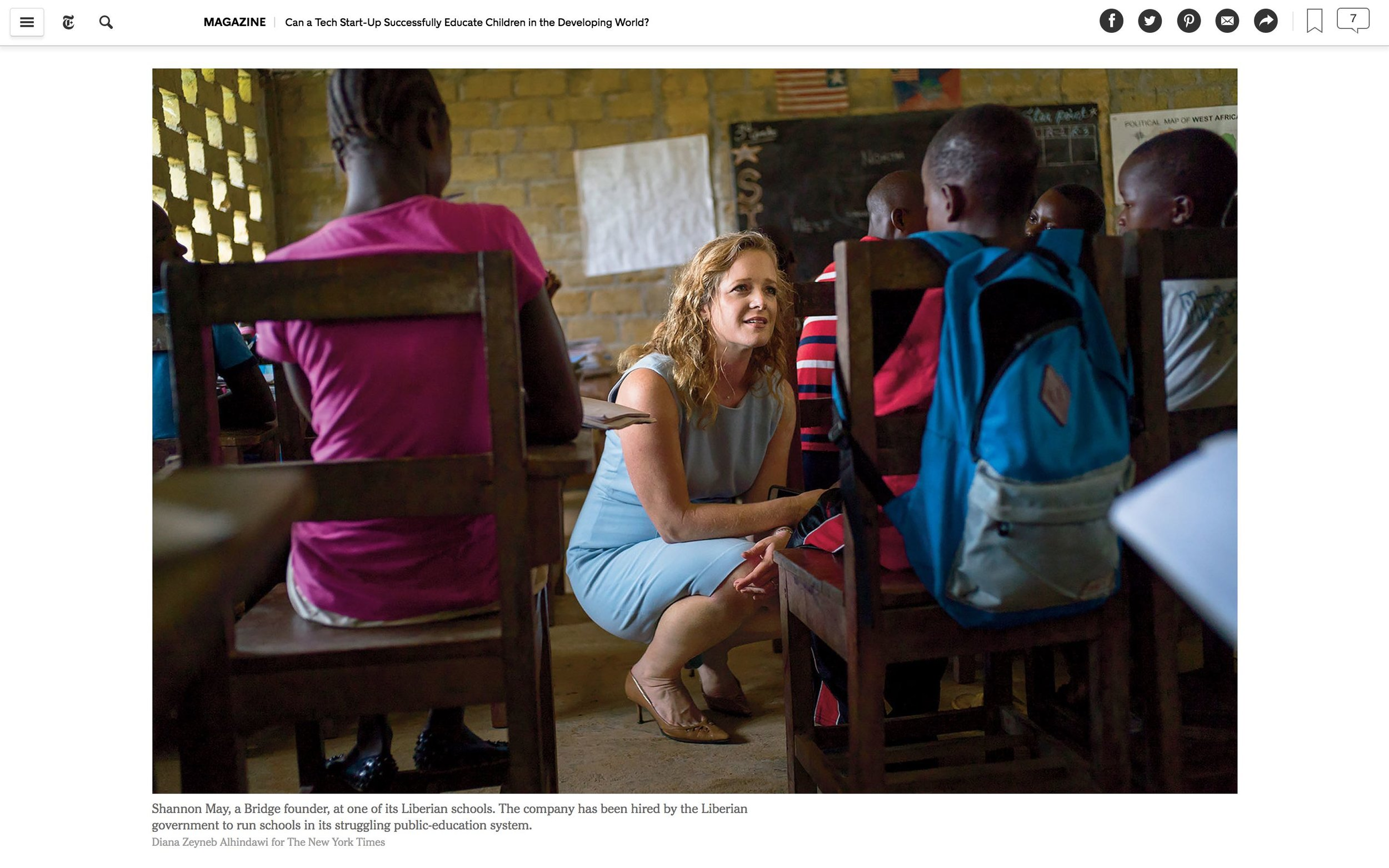 CLICK on title for full article     Can a tech start-up successfully educate children in the developing world?  | The New York Times Magazine, Jun 27, 2017   (Image 3 of 9)