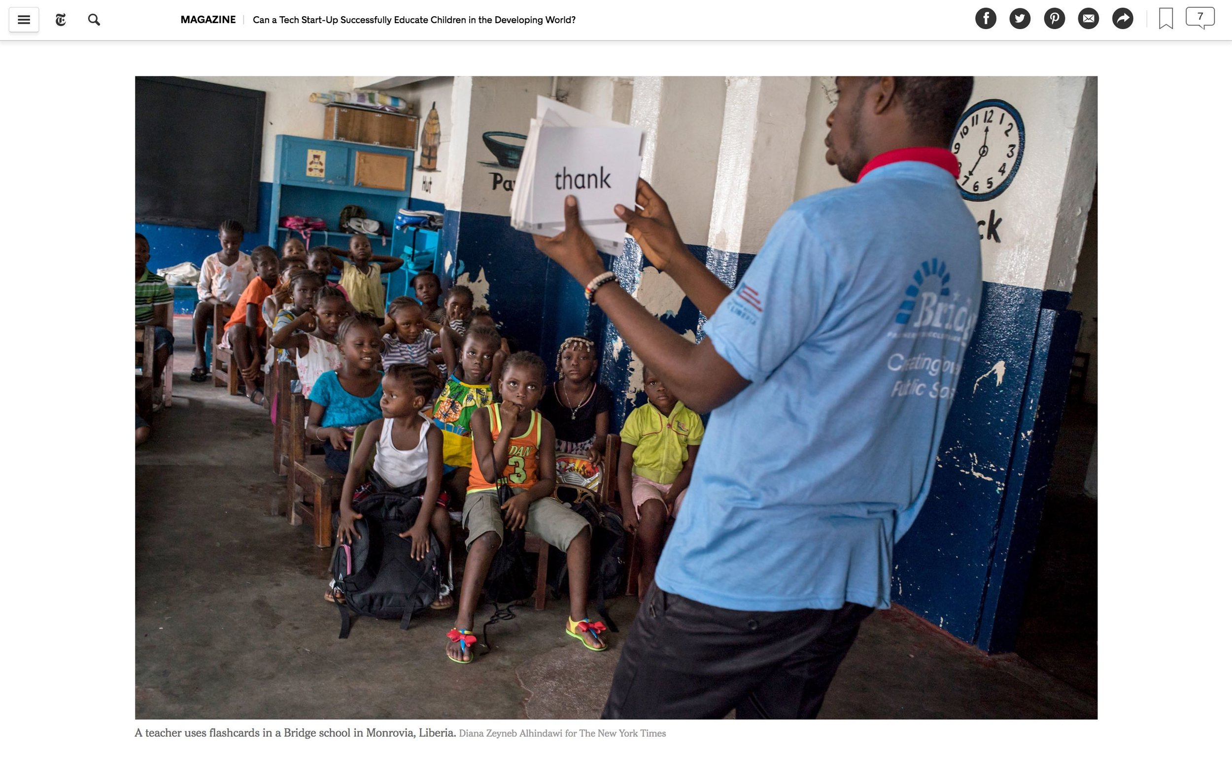 CLICK on title for full article     Can a tech start-up successfully educate children in the developing world?  | The New York Times Magazine, Jun 27, 2017   (Image 4 of 9)