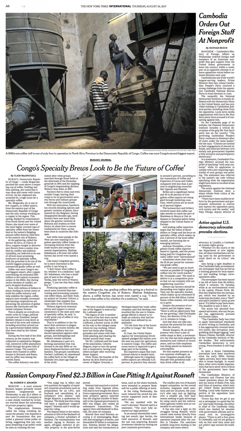 CLICK on title for online version     Congo's specialty brews look to be the future of coffee  | The New York Times, page A6, Aug 24, 2017