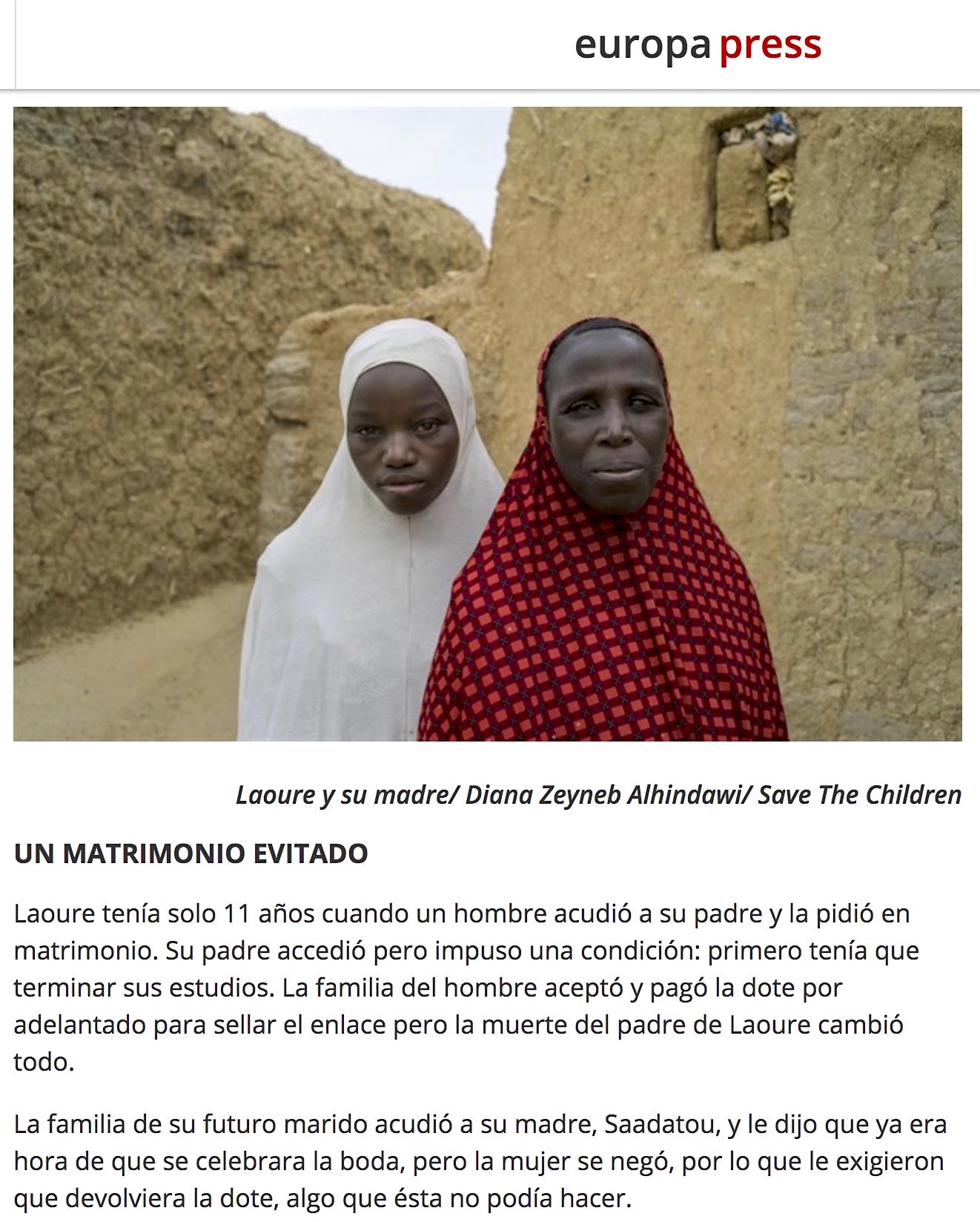 "CLICK on title for full article with more photos     En Níger el matrimonio aún sigue siendo ""un juego de niños""  (In Niger, marriage continues to be ""a game for children"") 