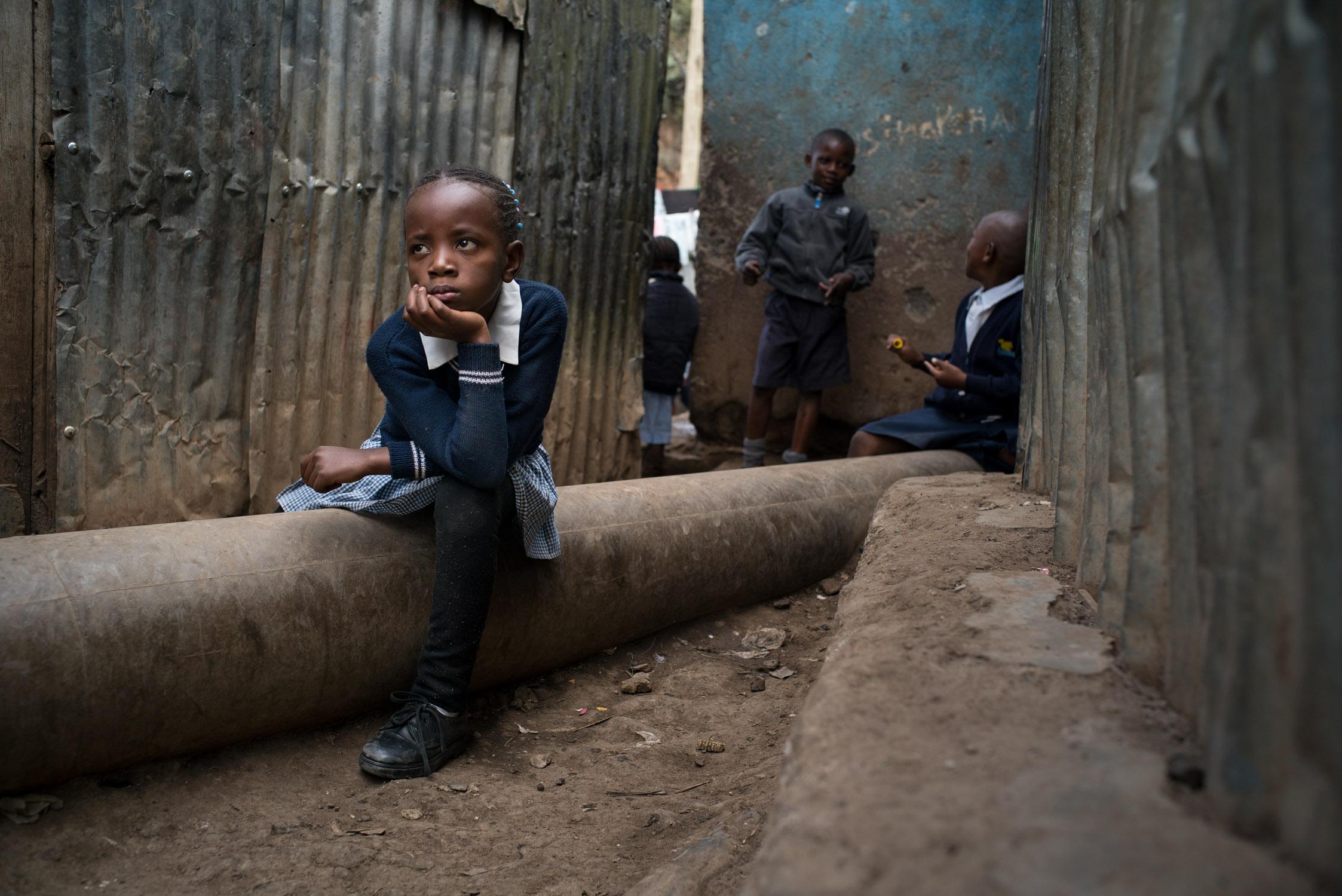 Children at a school (not Bridge) in Mathare slum area of Nairobi. September 19, 2016. Mathare slum, Nairobi, Kenya.