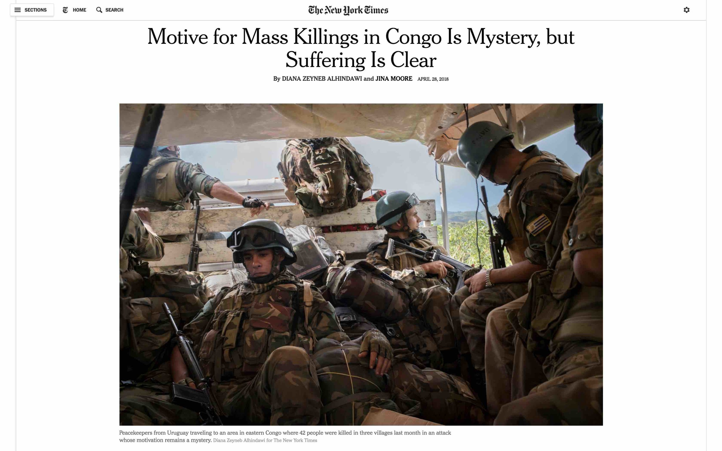CLICK on title for full article     Motive for Mass Killings in Congo Is Mystery, but Suffering Is Clear  | The New York Times, Apr 28, 2018
