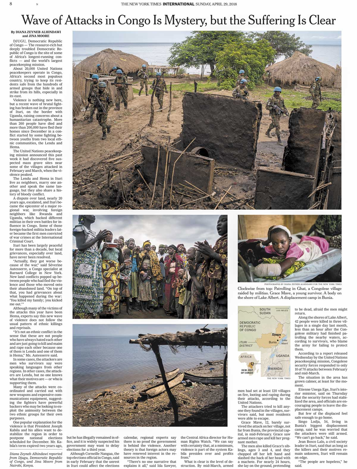 CLICK on title for online version     Wave of Attacks in Congo Is Mystery, but Suffering Is Clear  | The New York Times, page A8, Apr 29, 2018