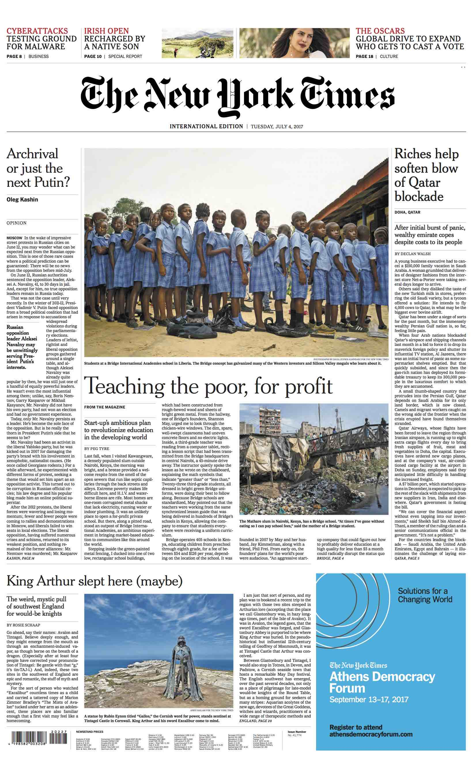 Diana Zeyneb Alhindawi_2017_07_04_International New York Times_page 1 front s_bridge education africa.jpg