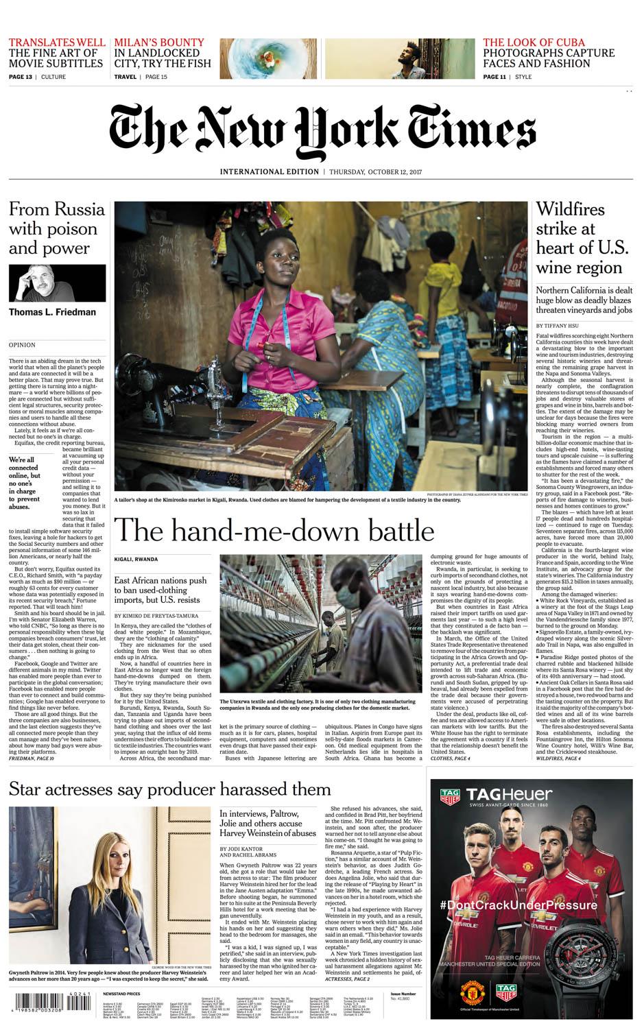Diana Zeyneb Alhindawi_2017_10_12_International New York Times_page A1 front_rwanda africa clothing manufacturing agoa.jpg