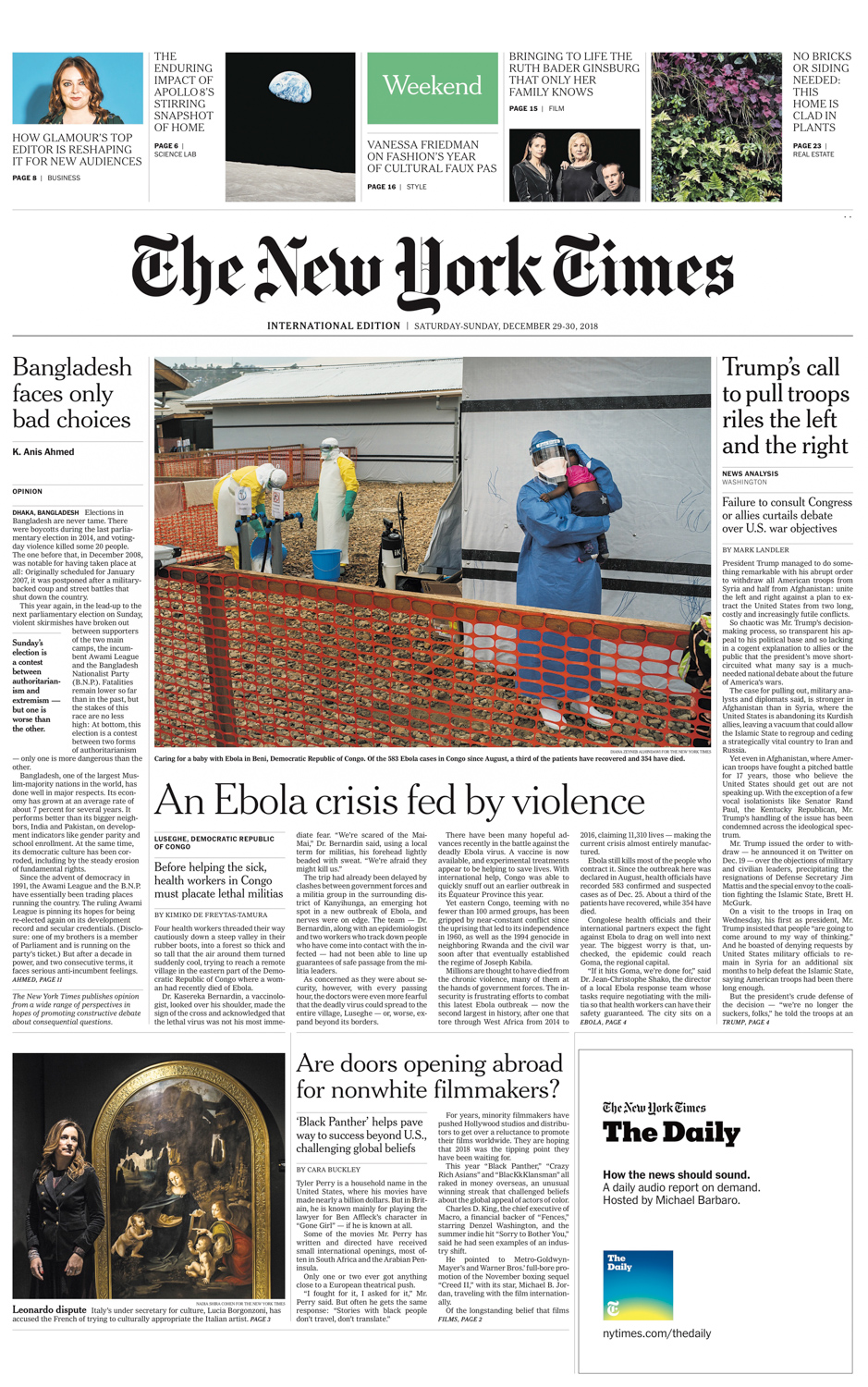CLICK on title for online version     An ebola crisis fed by violence  | The New York Times (print), international edition, page A1 and A4, Dec 29-30, 2018