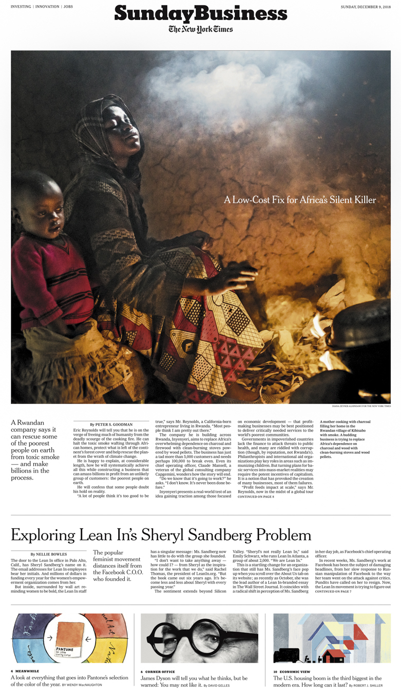 A Low Cost Fix for Africa's Silent Killer. Peter S. Goodman. 12/09/2018 Diana Zeyneb Alhindawi for The New York Times (charcoal Inyenyeri stove environment health Rwanda)