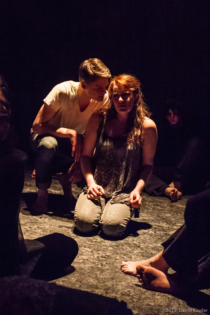 Jacob Orr as Davin and Jessica Tidd as Tess with members of The Fire in Easy