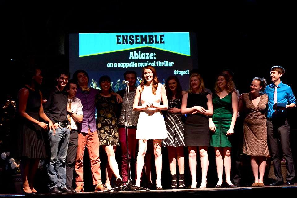 The Ablaze Cast accepting their award forOutstanding Ensemble at the 2013 Drammy Ceremony