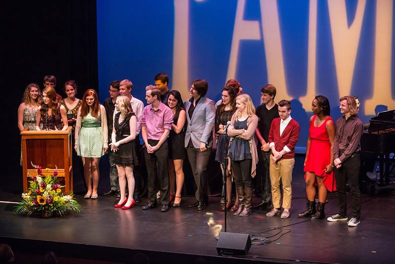 The Ablaze Cast accepting their award for Outstanding Ensemble at the 2013 PAMTA Ceremony