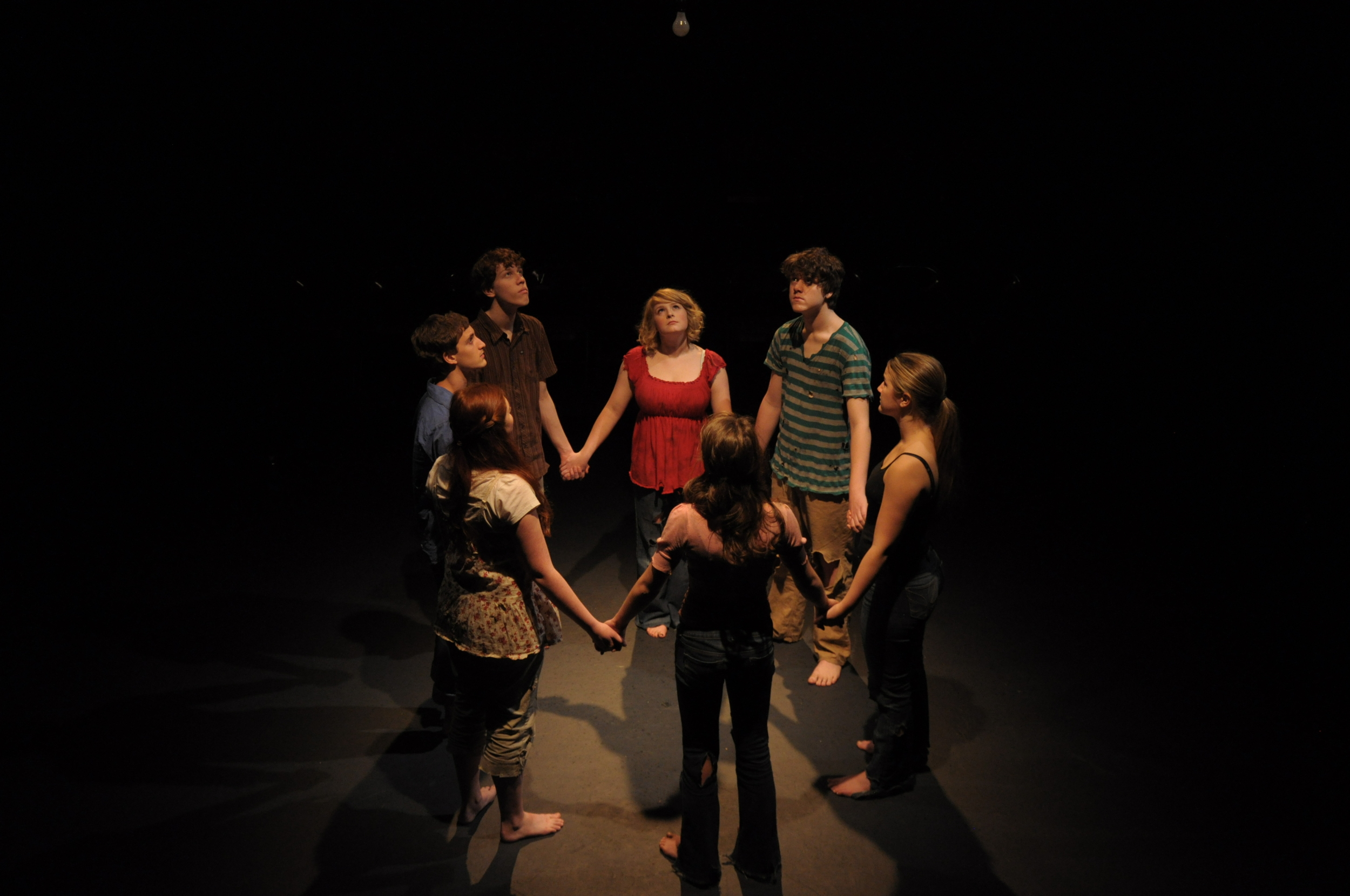 Lindsay Spear as Lissa, Noah Kaufan as Manny, Nathan Palmrose as Chaz, Natalie Lyons as Riley, Ethan Conroy as Saul, Madison Shanley as Tess, and Anna Breuer as Vea in  Alleluia