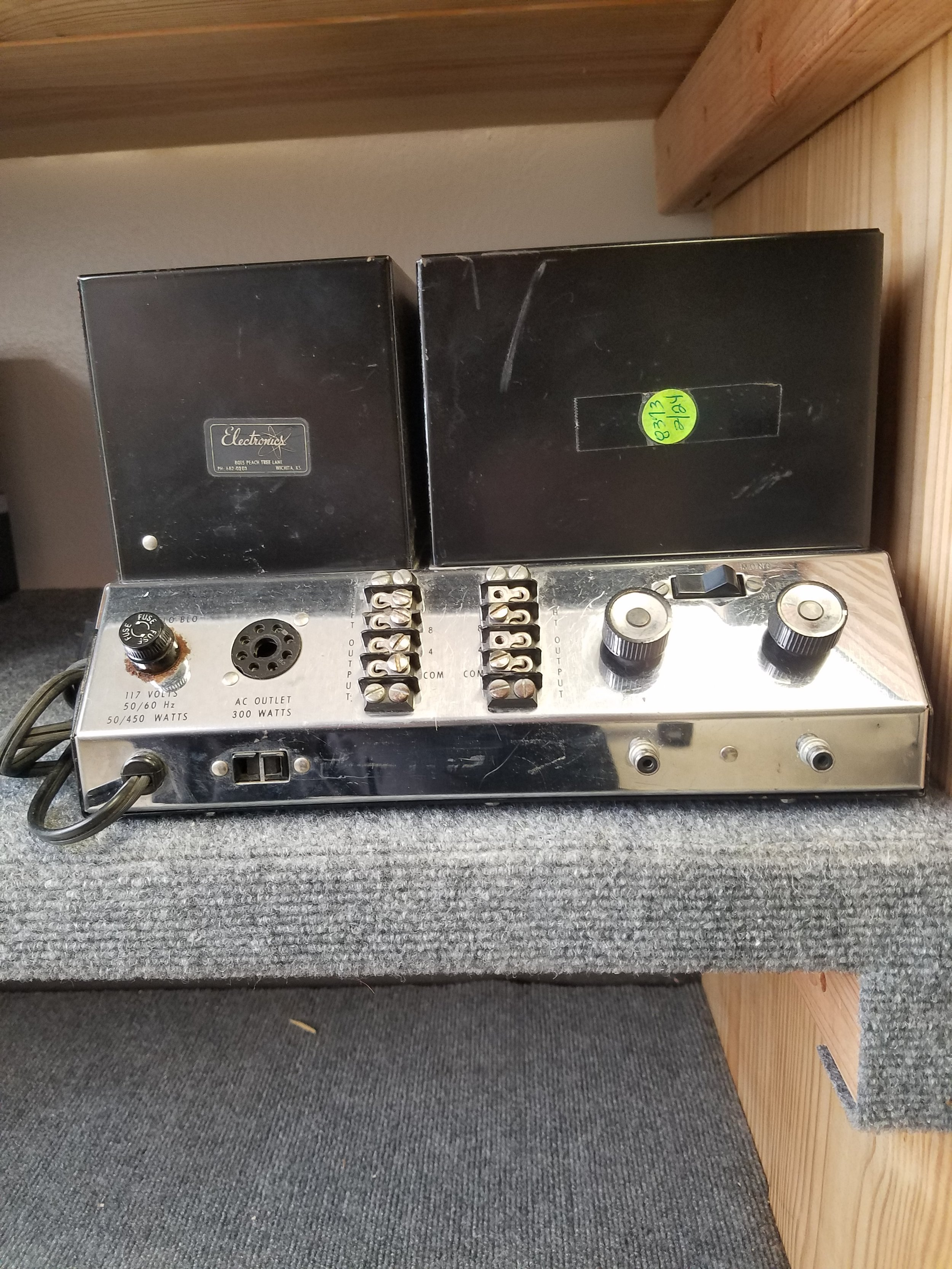 McIntosh amp - MC-2100 - 950.00  Used  SPECIFICATIONS  Power output: 105 watts per channel into 8Ω (stereo), 210W into 8Ω (mono) Frequency response: 20Hz to 20kHz Total harmonic distortion: 0.25% Damping factor: 14 Input sensitivity: 0.5V Signal to noise ratio: 90dB Speaker load impedance: 4Ω to 16Ω