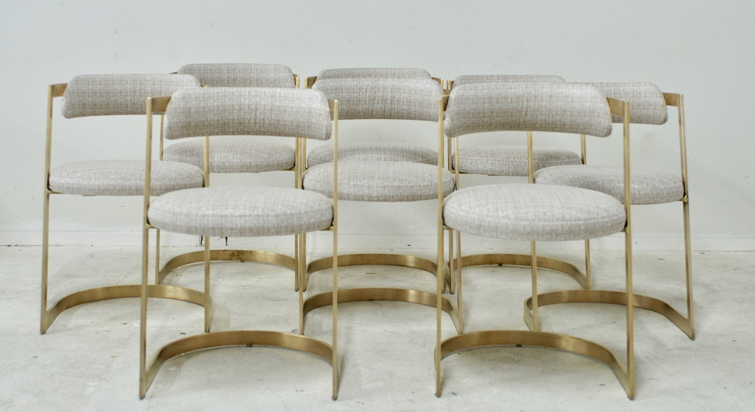Sold Set Of Eight Solid Brushed Brass Cantilevered Dining Chairs Flow Modern