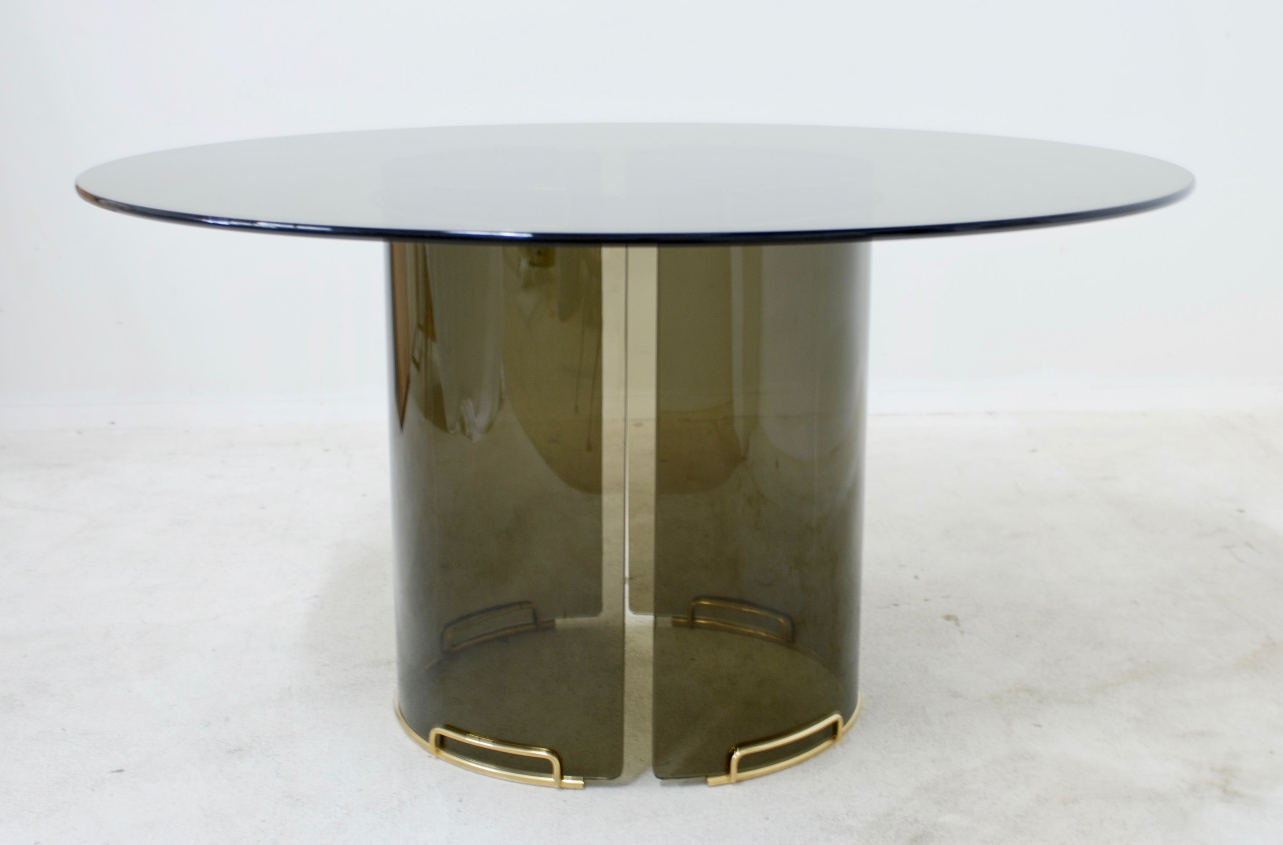 Round Grey Smoky Glass Dining Table With Curved Glass Base And