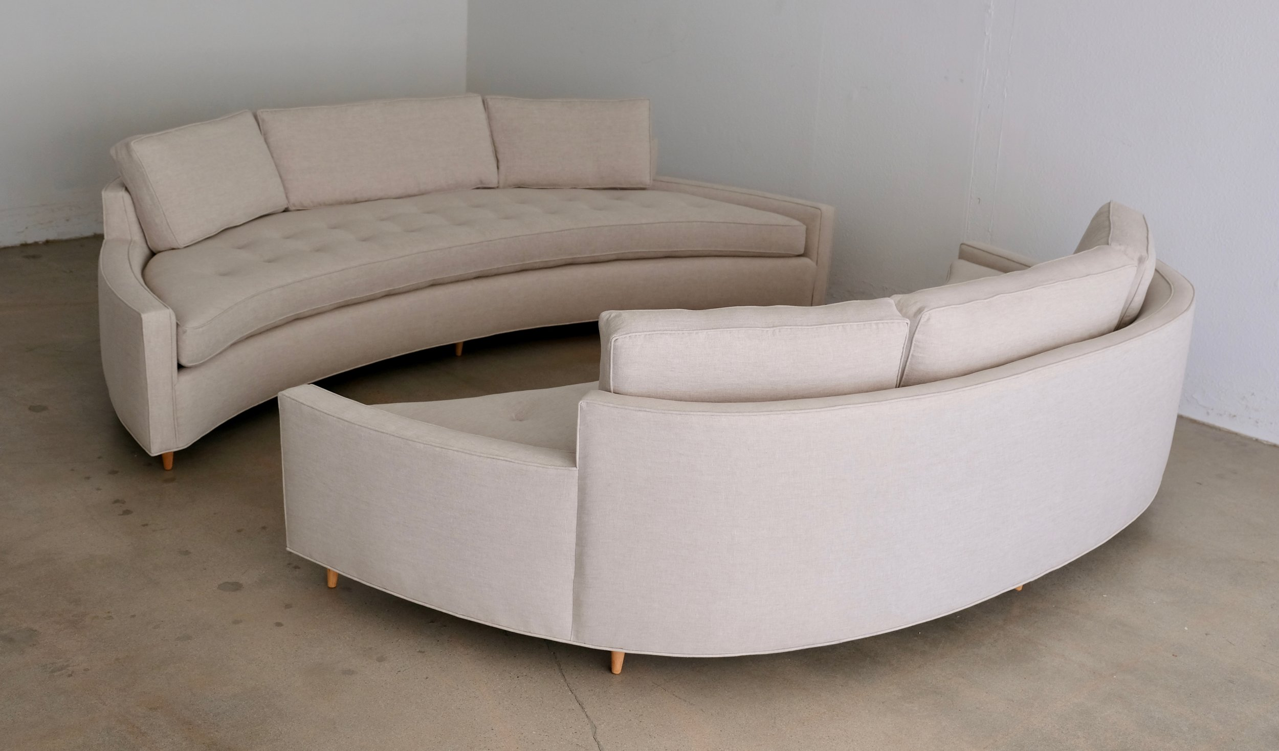 Sold-Large Pair of Harvey Probber Curved Sofas in Natural ...