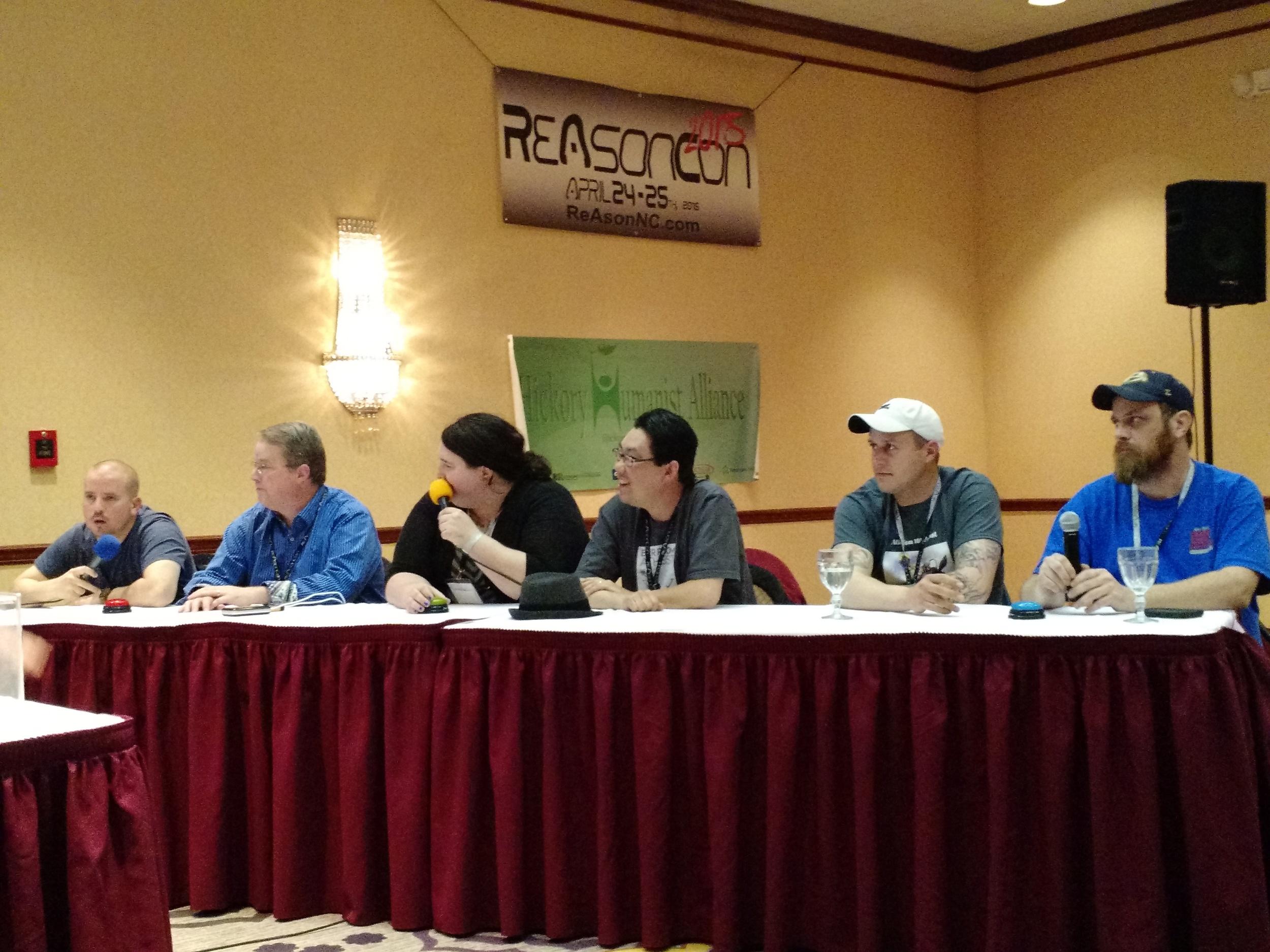 Left to Right: David Smalley  @ davidcsmalley  , Phil Ferguson  @ skepticmoney  , Callie Wright  @ gaytheistcallie  , Andrew Garber, Matt  atheism101podcast.com ,Chris @ SeethinHeathen
