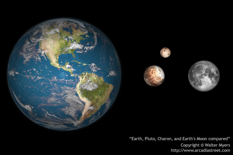 That's Pluto and Charon nestled to scale between Earth and our Moon. (Copyright Walter Myers)