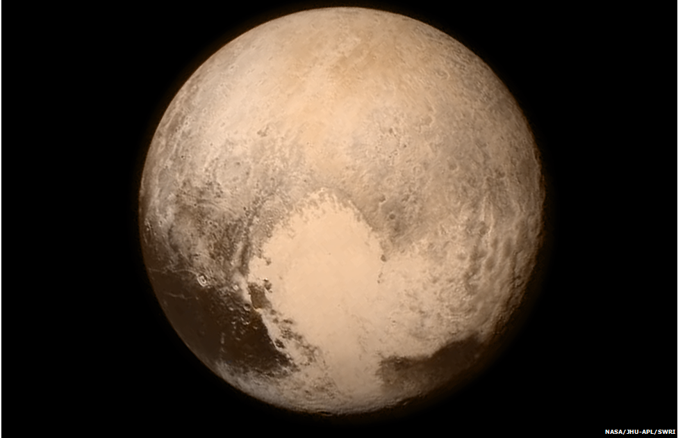 Pluto, New Horizons  (LORRI), taken on July 13, 2015 when the spacecraft was 476,000 miles (768,000 kilometers) from the surface. (NASA)