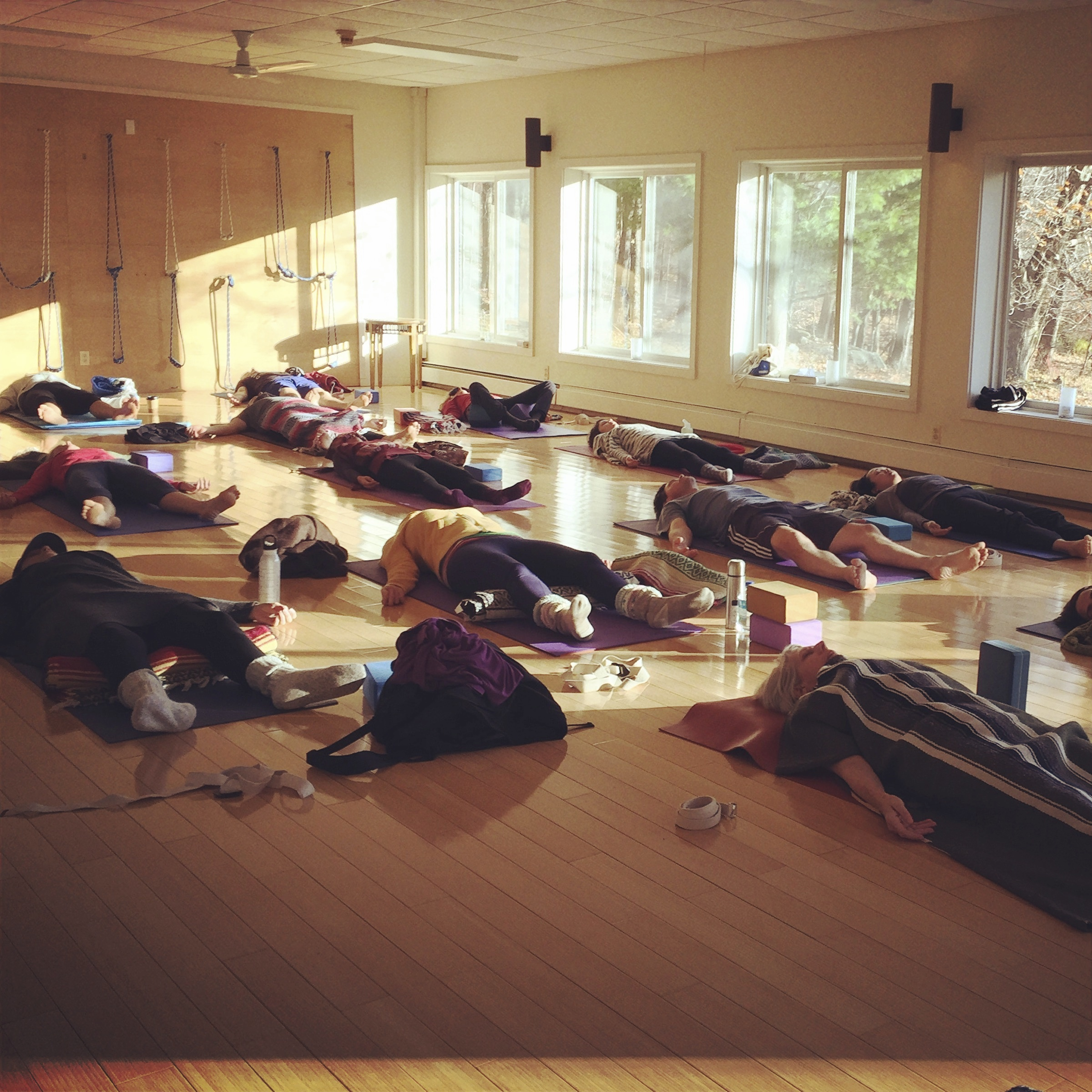 Lily Cushman teaching morning yoga classes
