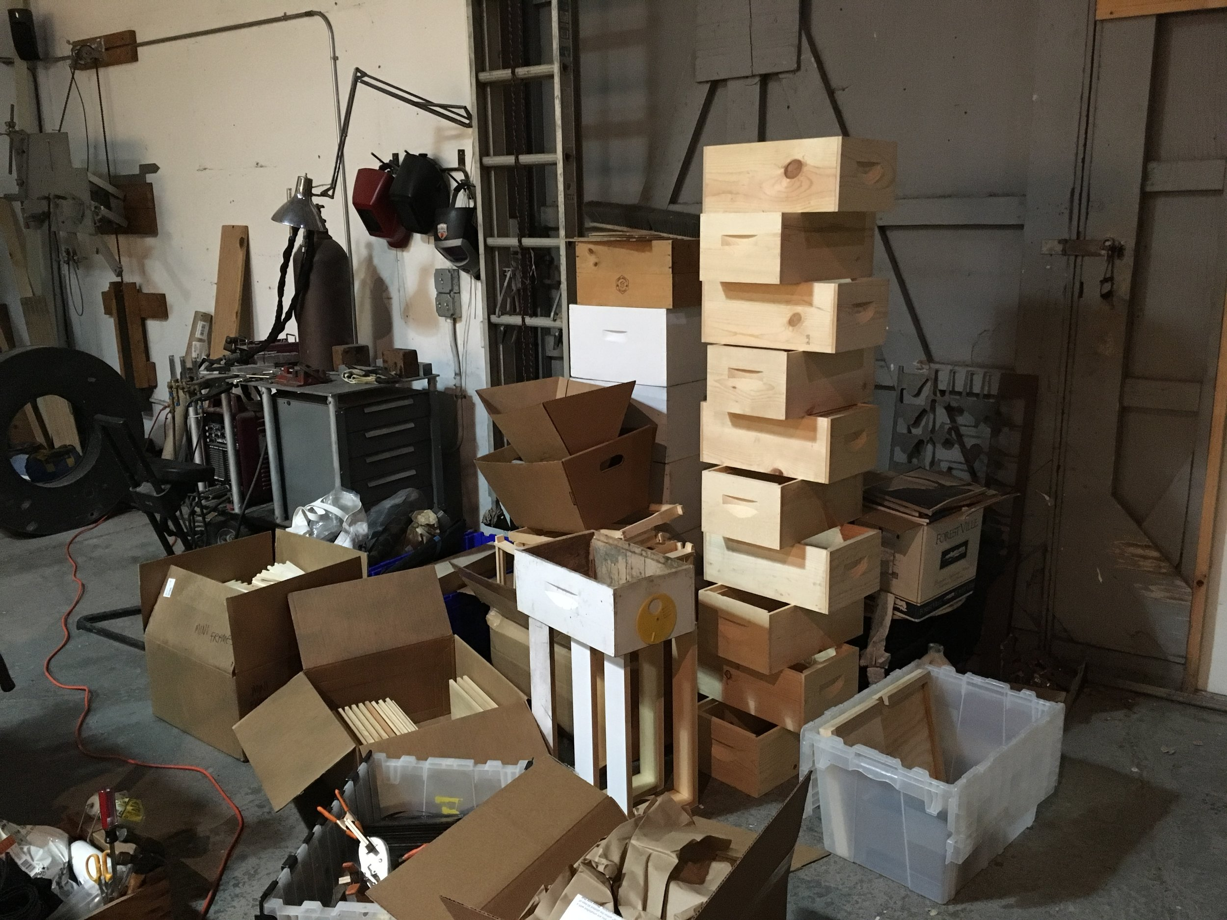 Ordered chaos as I receive shipments, make modifications and build equipment.