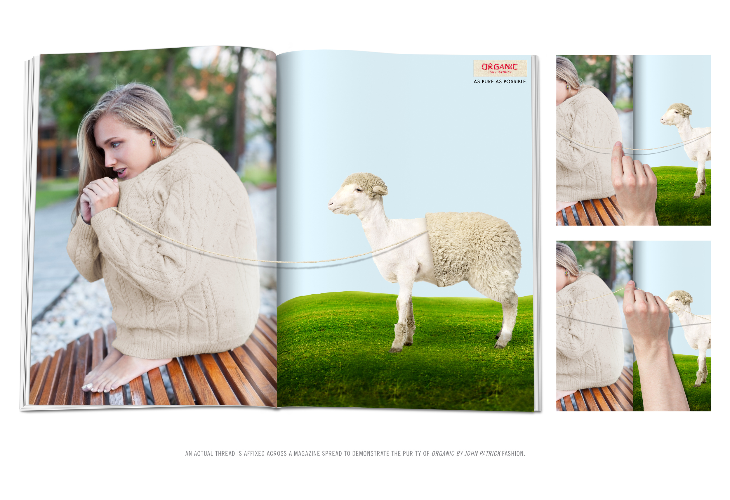 AN ACTUAL THREAD IS AFFIXED ACROSS A MAGAZINE SPREAD TO DEMONSTRATE THE PURITY OF  ORGANIC BY JOHN PATRICK  FASHION.
