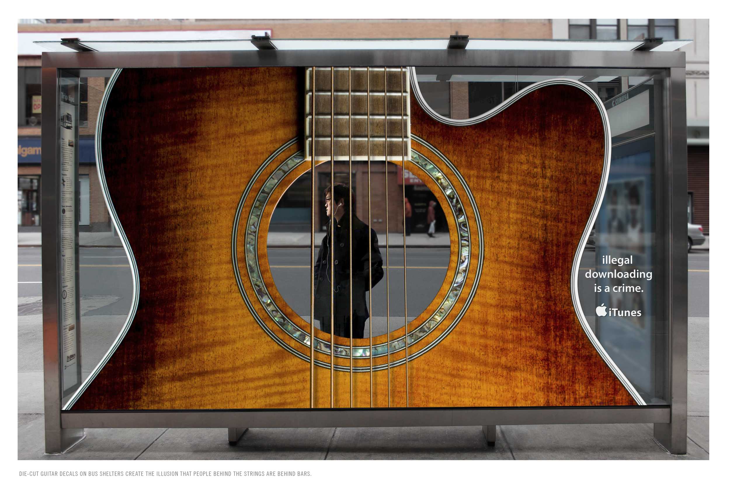 DIE-CUT GUITAR DECALS ON BUS SHELTERS CREATE THE ILLUSION THAT PEOPLE BEHIND THE STRINGS ARE BEHIND BARS.
