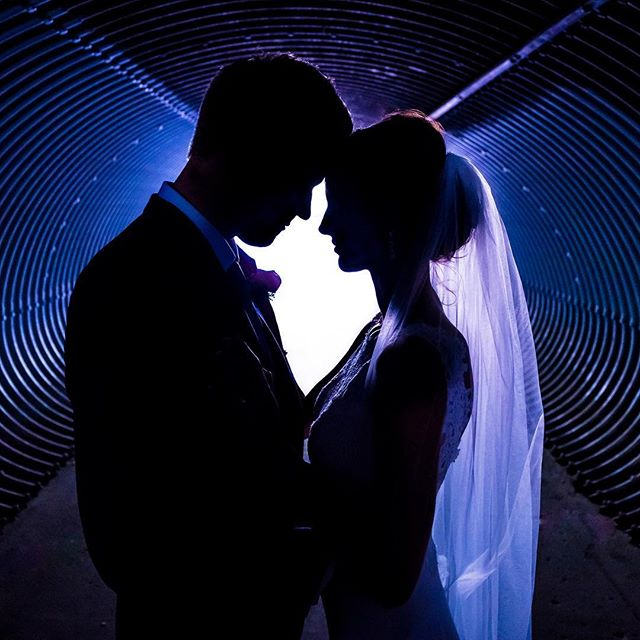 "Wedding photo in a tunnel ""of love""."