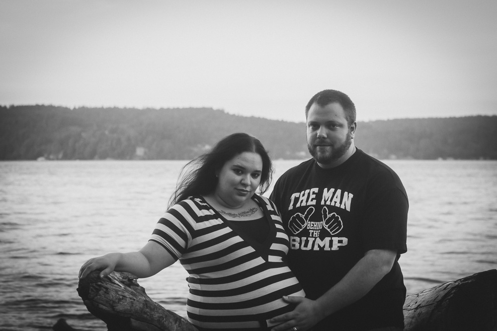 Mom and Dad in Black and White at Point Definace by Captured By Katie Photography, Tacoma Maternity Photographer