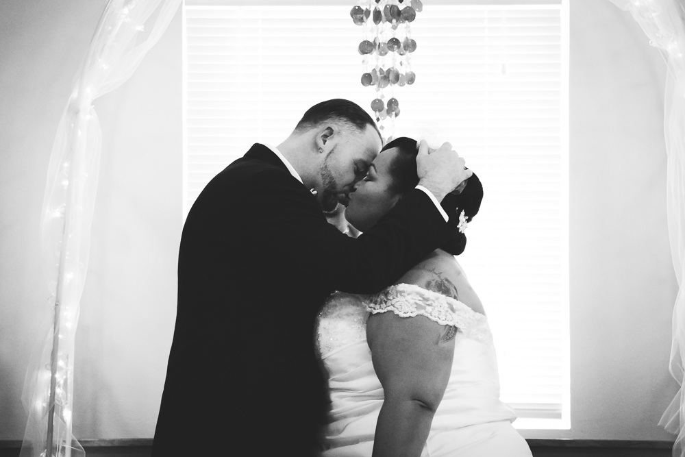 First Kiss by Captured By Katie Photography, Enumclaw Wedding Photographer