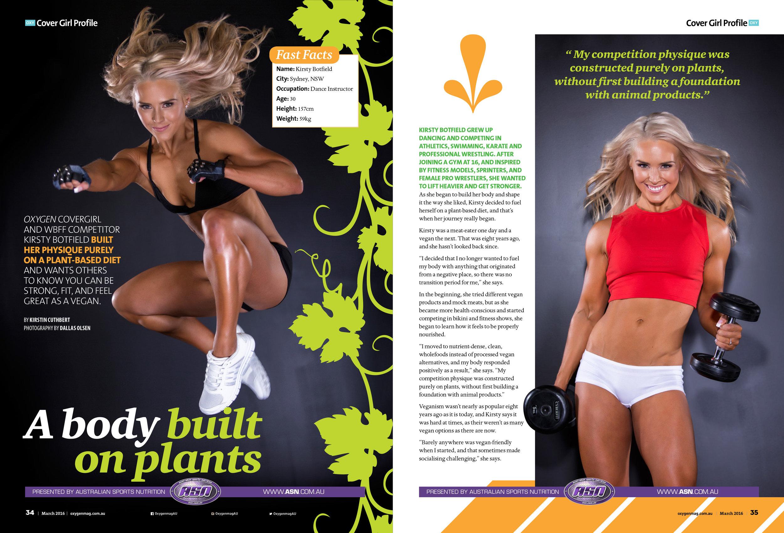 Oxygen Magazine cover girl - kirsty botfield