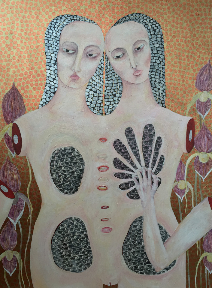 "Observer , acrylic & transfers on canvas, 36"" x 48"", 2008"