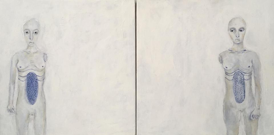 "Separation , acrylic on panel, 6"" x 12"", 2012"