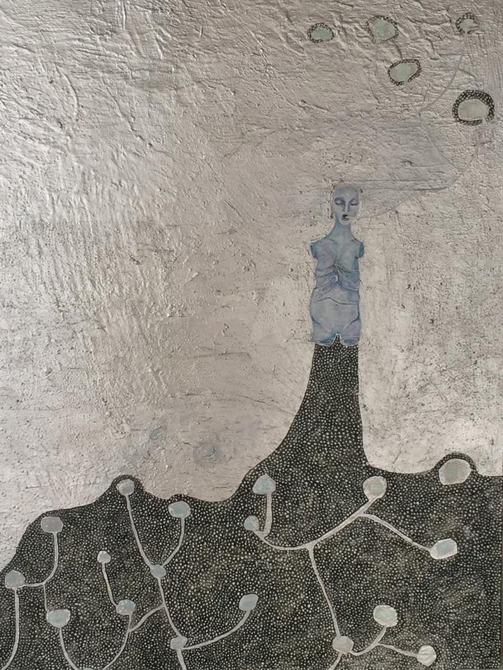 """Seeds , acrylic on panel, 16"""" x 20"""", 2013"""