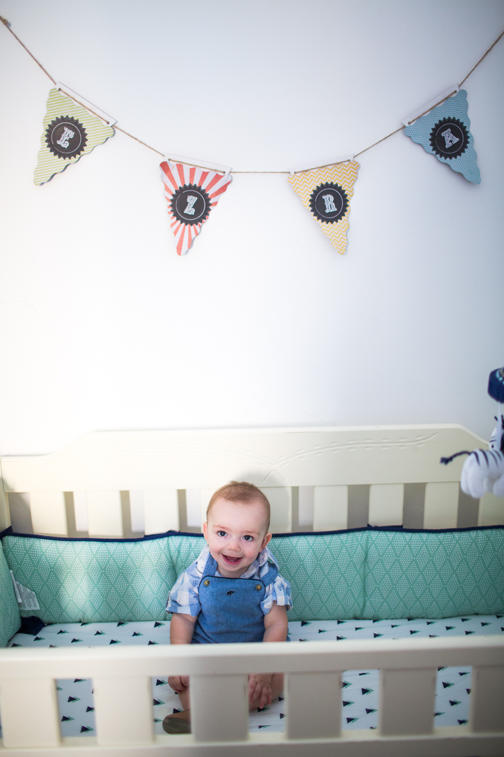 So I can't believe I don't have more photos of the nursery/guest room. I guess we spend the least amount of time in this room, because half of the year Ezra sleeps with us due to only running the a/c in one room, but here's the best photo I could find of his crib.