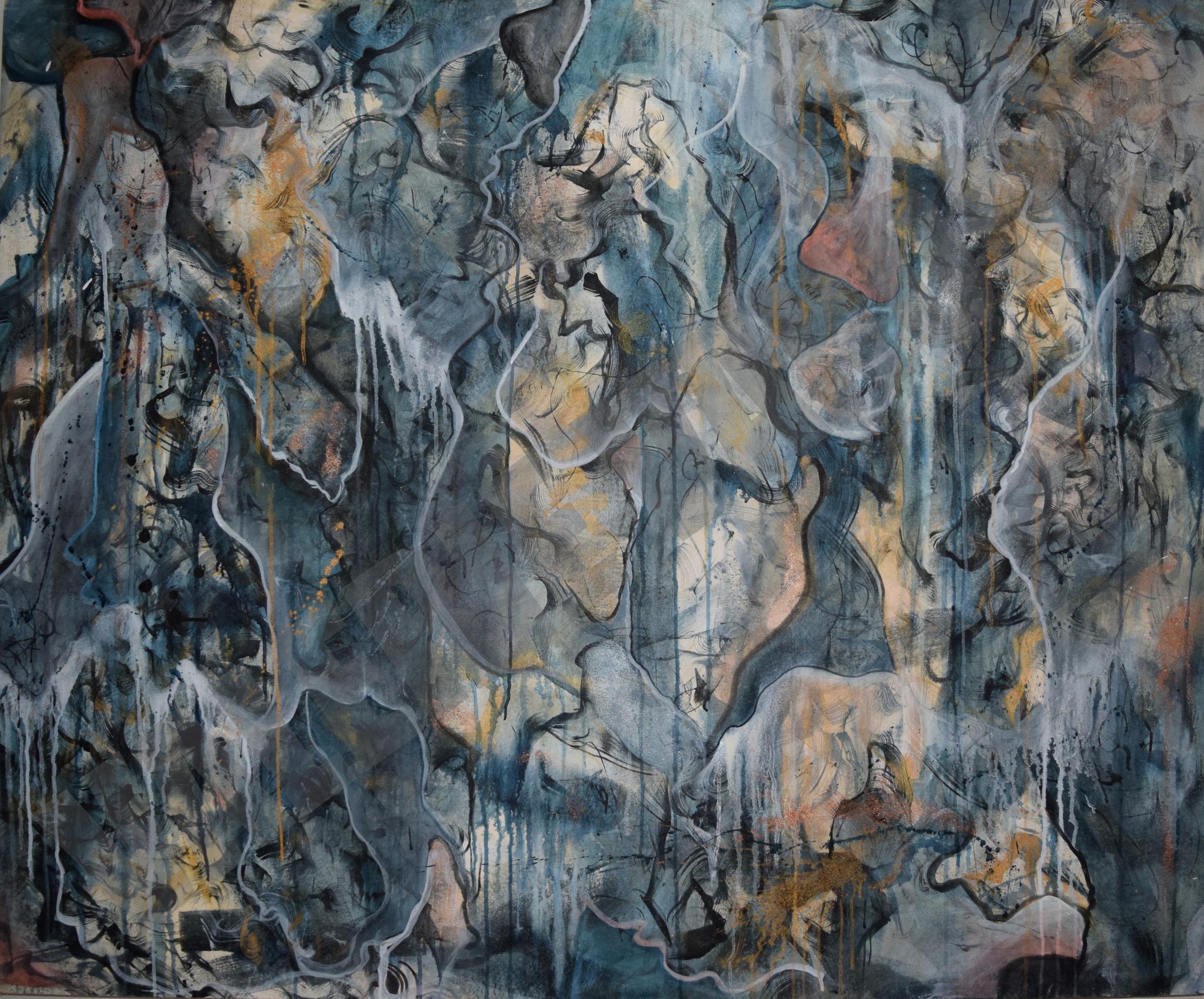 "2009  48 x 52""  Acrylic on Fabric"