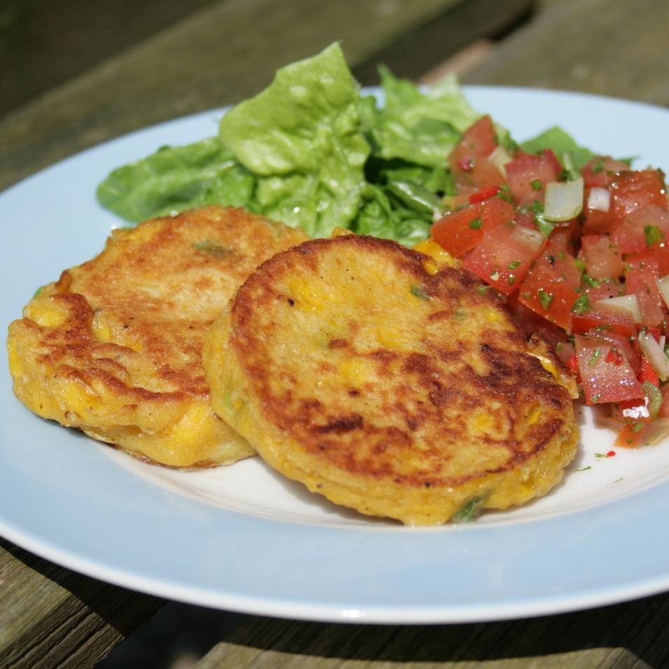 Sweetcorn Fritters with Tomato & Chilli Salsa