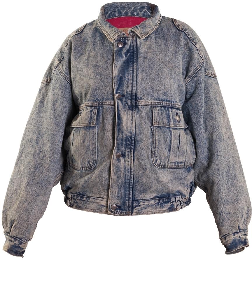 Vintage 80/'s Acid Washed Denim Bomber Jacket