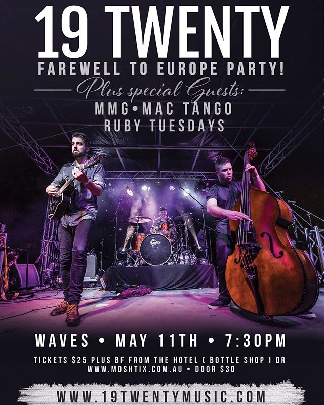 @19twenty are off to Europe and they're throwing a HUGE farewell party! 500 tix available.. These guys always sell out so jump on it! 🎸