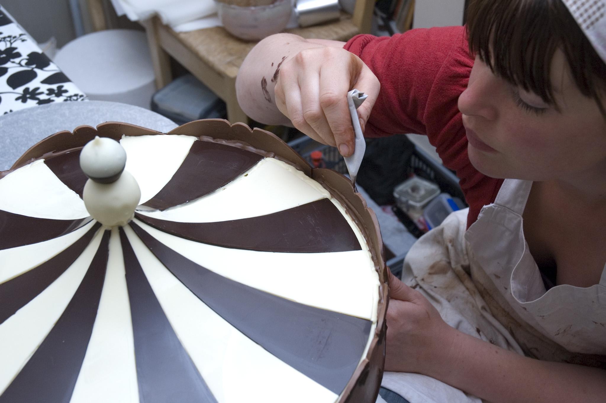 Jen Lindsey-Clark (me) creating Chocolate Carousel art.