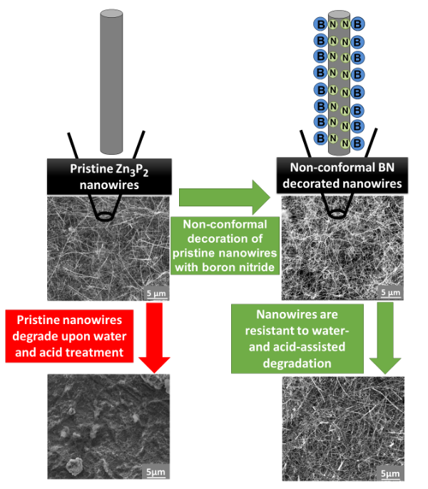 A schematic representing the resistance against acid-assisted degradation of Zn3P2 nanowires, non-conformally decorated with Boron Nitride.  PCCP 2014