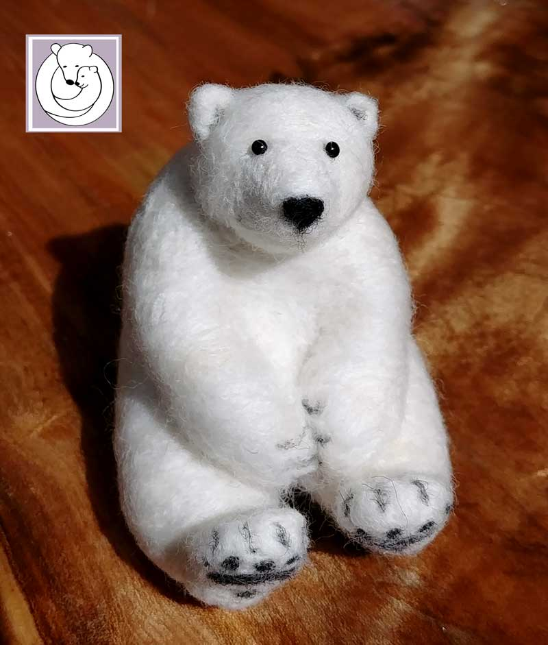 "Sitting 3"" Polar Bear"