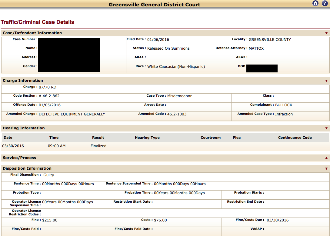 Greensville, Reckless Driving, Judge Bloom, Traffic Attorney, Defective Equipment, no points