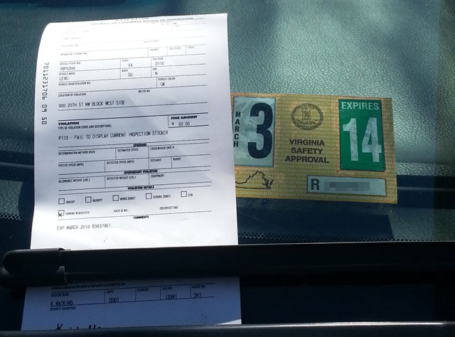 expired inspection sticker, Viriginia Traffic Attorney,