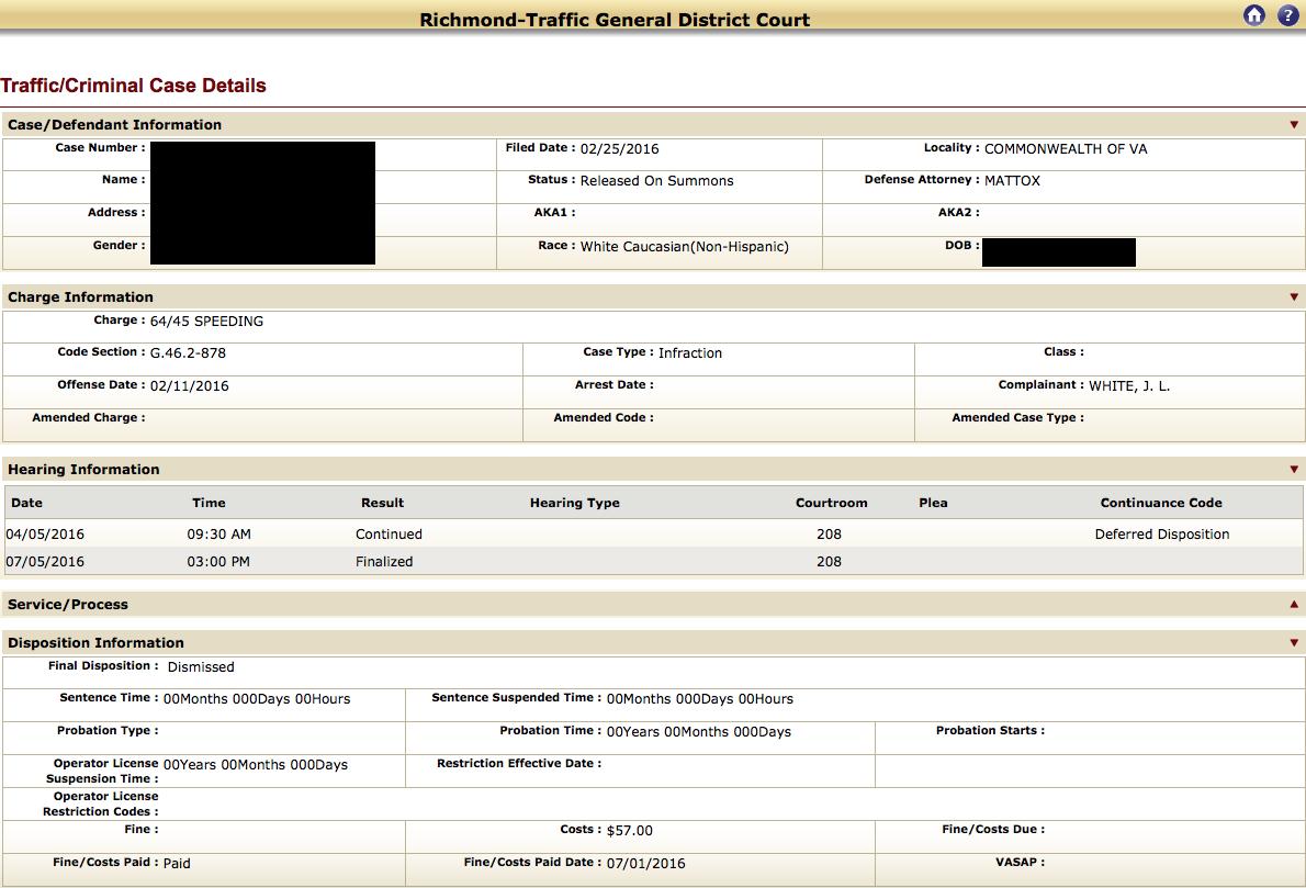 Speeding, Richmond Traffic Attorney, Reckless Driving, Virginia Lawyer, Dismissal, No Points, Trooper White, Judge McClenny